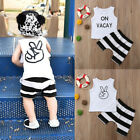 US Stock Toddler Kids Baby Boys T-shirt Tops+Shorts Summer Outfits Clothes Set