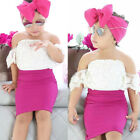 Kids Baby Girls Off shoulder Lace Tops T shirt+Skirts headband 3pcs Outfits Set