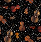 Violin Fabric Jazz Music Instruments Black Quilting Cotton BTY BTHY