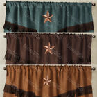 "Внешний вид - Texas Western Embroidery Star Suede Valance Curtain Panel - 3 Styles  -  60""x18"""