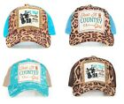 Play That Music Guitar Boots Just A Country Girl Cheetah Mesh Hat Cap Blue Brown