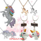 Unicorn pendant necklace chain multi kids girls costume jewellery party gift UK