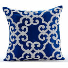 Arabic Pattern Blue Accent Pillows, Art Silk 16X16 Pillow Covers - Royal Arabic