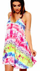 WOMENS TIE DYE FLORAL CAMI DRESS LADIES SWING FLARED STRAPPY TUNIC TOP SIZE 8-26