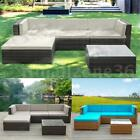 5PC Patio Rattan Wicker Sofa Set Garden Outdoor Furniture Couch W/ Cushions W2P5