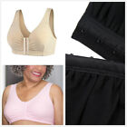 US ABC Pocketed Leisure Bra Front Closure Wirefree Post Surgery 95% Cotton Rich
