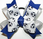 Soccer Hair Bow Team Color Choice Girls Children Pigtail Ponytail Holder Elastic