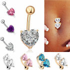 Belly Bars Drop Body Piercing Belly Button Ring CRYSTAL HEARTS Navel Bar (Jr4)