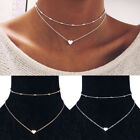 Gold or Silver Double Layers Choker Heart Pendant Necklace  (JCe9fA)