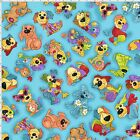 Loralie Joyful Dogs Toss Fabric Turquoise Toss 100% Quilting Cotton BTHY BTY