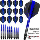 Harrows Quantum Supergrip Fusion Spar Set mit 12 Flights & 9 Shafts blau