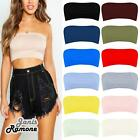 Womens Ribbed Plain Boobtube Strapless Stretch Bandeau Summer Crop Vest Bra Top