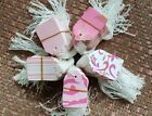 LOT 100 Pink Designer Print Paper Merchandise Price Tags with Strings Strung #5