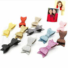 Baby Girl Hairbow Hairpins Chic Glitter Leather Bow Hair Clips Hair Headwear