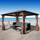 Gazebo with Curtain Brown Aluminum 10'x10' / 13'x10' Weather-resistant Canopy US