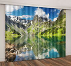 2Panel 3D Printing Window Curtains Blockout Fabric Mountain Reflected Lake Water