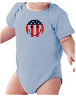 Infant Creeper Bodysuit One Piece T-shirt Patriotic Red White Smiley Face k-349