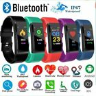 Bluetooth Smart Watch Heart Rate Blood Pressure Monitor Bracelet Fitness Tracker
