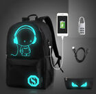 Night Luminous Backpack School Anti-thief Bag with USB Charger & Lock Travel Bag