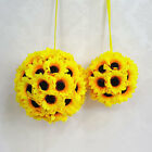 Внешний вид - Artificial Silk Sunflower Kissing Ball Flower Pomander Bouquet Home Party Decor