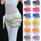 Chiffon Dangling 3 Row Gold Silver Coins Belly Dance Hip Skirt Scarf Wrap Belt