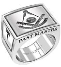 Men's Past Master 0.925 Sterling Silver Freemason Masonic Ring Sizes 8 to 14
