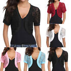 Fashion Womens Solid Short Sleeve Floral Lace Shrug Open Front Bolero Cardigan