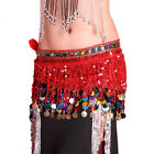 Women Belly Dance Costume Accessory Tassel Wrap Scarf Sequins Belt Dancewear USA