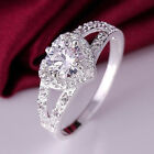 Ee_ Women 925 Sterling Silver Crystal Love Heart Shaped Ring Bridal Jewelry Clas