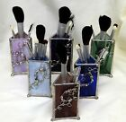 USA-Made Stained Glass Makeup Brush Holder w/ Brush Set by Robinson Art Glass