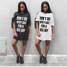 Women Short Sleeves Letter Print Casual Club Party Summer Mini Shirt Dress