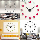 US Large Wall Clock Frameless DIY Number MIRROR Sticker Modern Art Decal Decors