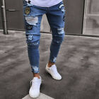 US Fashion Men's Ripped Destroyed Jeans Straight Slim Fit Denim Pants Trousers