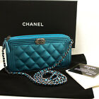 CHANEL Boy Metallic Blue Caviar Wallet On Chain WOC Clutch Bag L01