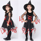 Kid Halloween Witch Fancy Costume Girls Tutu Dress + Cap Child Cospaly Party Set