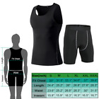 Men Sport Gym Compression Shorts & Tank Top Set Shirt Vest Body Shapewear Tights