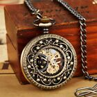 Vintage Steampunk Mechanical Pocket Watch Necklace Hand Wind Hollow Carve Watch