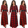 New Womens Plus Size Dress Evening Cocktail Maix Skirt Long Sleeve Casual Check