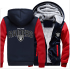 Winter Thicken Hoodie Team Oakland Raiders Warm Sweatshirt Lacer Zipper Jacket