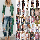 Women Summer Boho Beach Cover Up Lace Floral Cardigan Kimono Chiffon Coat Blouse