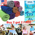 Instant Ice Cooling Towel Reusable Chill forRunning Workout Fitness Gym YogaUS!  image