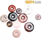 Natural Gemstone Coin Donut Ring Circle Necklace Pendants Beads Jewellery Making