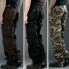 Mens Army Military Combat Cargo Camo Pockets Pants Outdoor Fishing Work Trousers