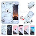 For iPod Touch 6 Case, Marble Series Hybrid Hard PC +Soft Silicone Protect Cover