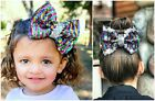 rainbow hair bows 5 inch flip sequin