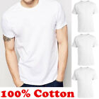 For Mens 100% Cotton Crew Neck T-Shirt Undershirt Plain White Tee XL-4XL  image