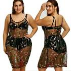 2018 Women's Floral Embroidery Lace Halter Dress Sexy See-through Dress 2XL
