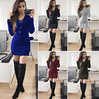 Women Knitted Long Sleeve V Neck Lace Up Sweater Jumper Knitwear Slim Mini Dress