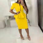Women Clothing Office Wear Peplum Dress Bodycon Skirt Casual Short Sleeve Zipper