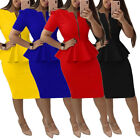 Womens Office Wear Peplum Dress Bodycon Skirt Casual Elegant Zipper Short Sleeve